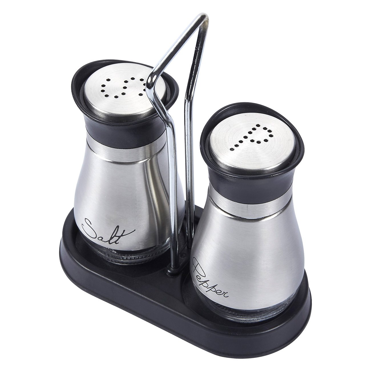 Salt and Pepper Shakers Set - High Grade Stainless Steel with Glass Bottom and 4' Stand - 4'' x 6'' x 2'', 4 oz. by Juvale (Image #6)