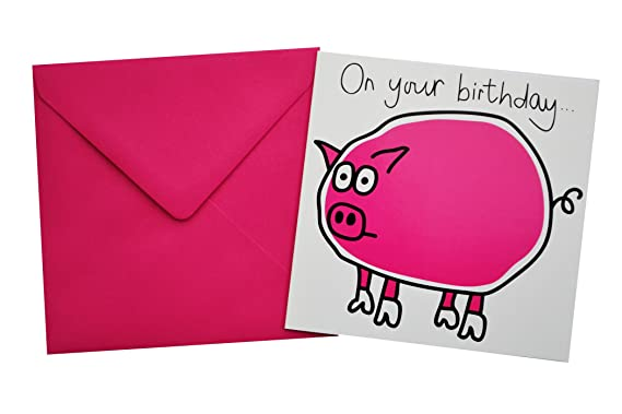 Pig Birthday Card Bright Pink Envelope Amazon Clothing