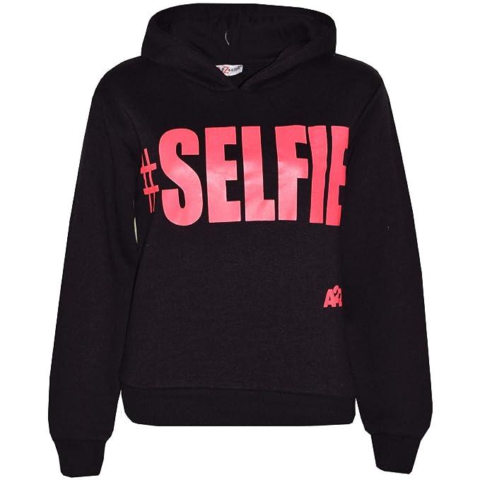 A2Z 4 Kids® Kinder Mädchen Jungen Sweatshirt Tops Schwarz   Neon Rosa  Designer Beiläufig  Selfie Aufdruck Pullover Sweatshirt Vlies Mit Kapuzen  Jumper ... c8514cd1db