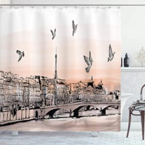 """Ambesonne Landscape Shower Curtain, Panorama Sketch Art Sunset View of Paris from Pont Des Arts with Pigeons River, Cloth Fabric Bathroom Decor Set with Hooks, 75"""" Long, Peach Grey"""