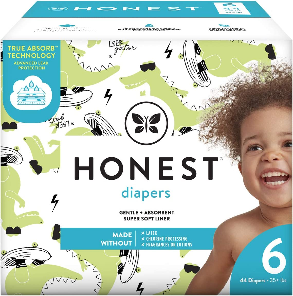 The Honest Company The Honest Company Club Box Diapers with Trueabsorb Technology, L8ter Gator, Size 6, 44 Count