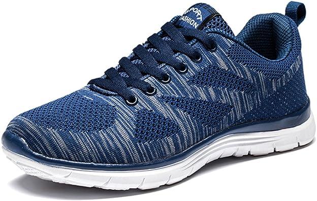 Zapatillas Deportivos Hombre Cordones Running Trail Mesh Casual Zapatos Planas Negro Azul Gris Rojo Azul 44: Amazon.es: Zapatos y complementos