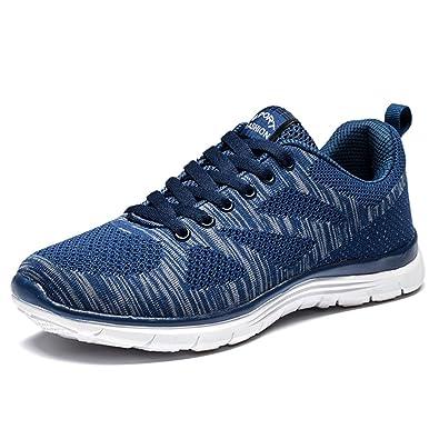 factory price d51a0 e384c Homme Chaussures Course Sports Gym Lacets Baskets Poids Léger Noir Bleu  Gris Rouge Bleu 39