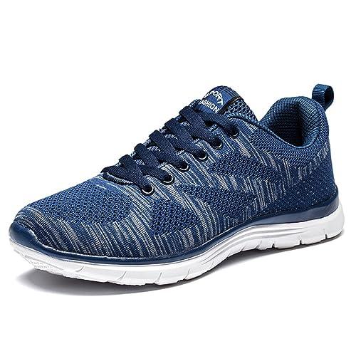 d486f20259d44 Zapatillas Deportivos Hombre Cordones Running Trail Mesh Casual Zapatos  Planas Negro Azul Gris Rojo 39-44  Amazon.es  Zapatos y complementos
