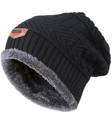 7ec32cdeeeb MIEDEON Men s Winter Knitting Skull Cap Wool Warm Slouchy Beanie Hat ...