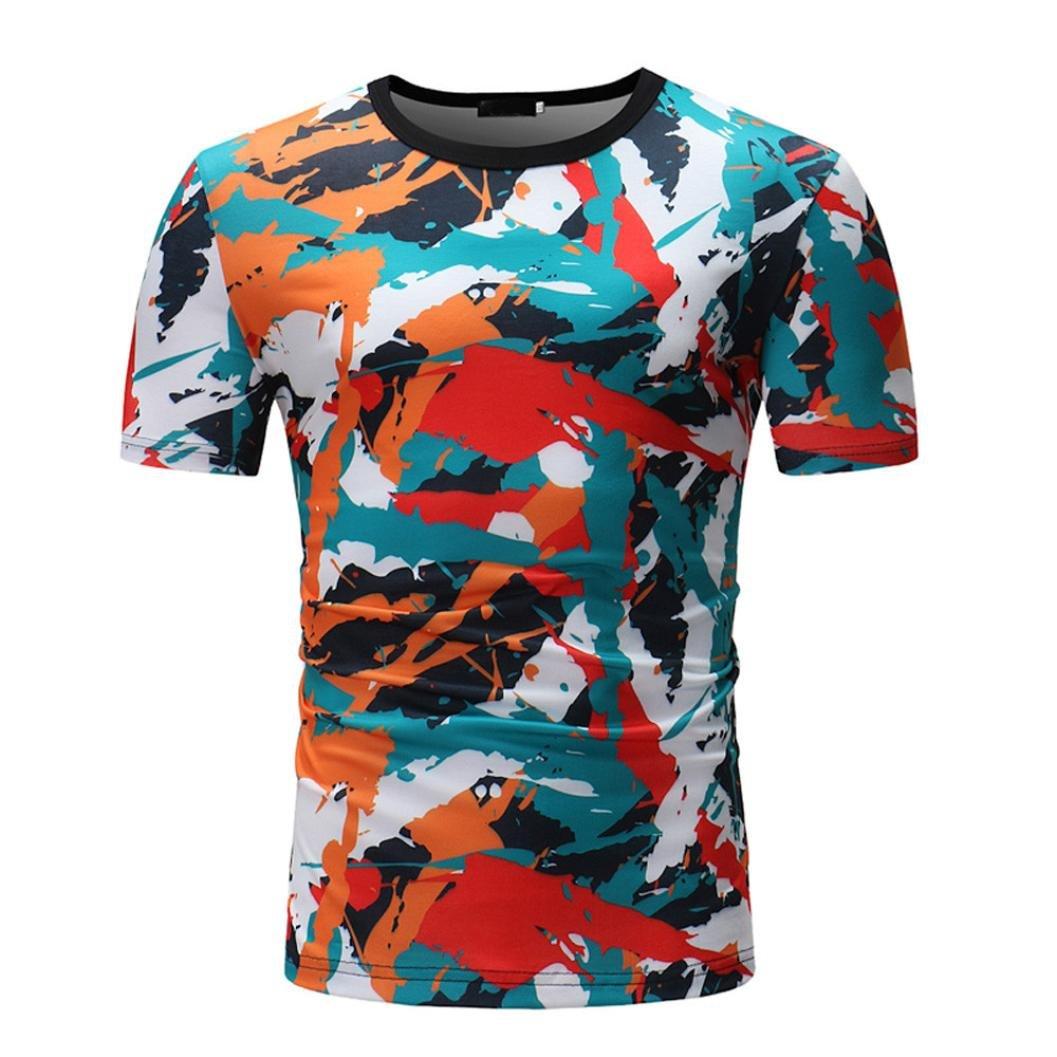 Camiseta para Hombre, Camiseta de Manga Corta con Cuello Redondo y Estampado Casual para Hombre: Amazon.es: Ropa y accesorios