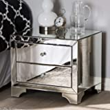 Baxton Studio Farrah Hollywood 2-Drawer Nightstand Glam/Silver Mirrored/MDF