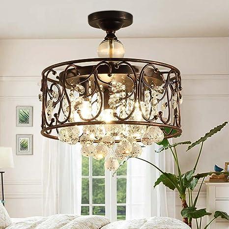 Americano Rural Rústico Cristal Diseño Lámpara de techo ...