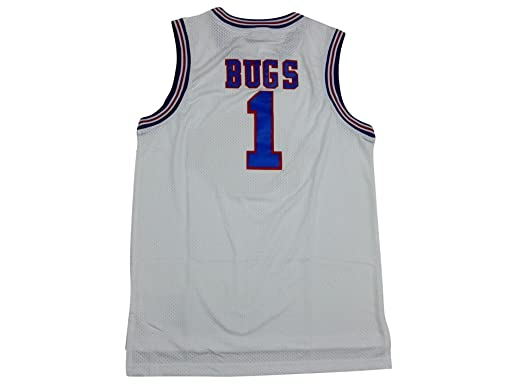 f8493fabf80 Amazon.com: Space Jam #1 Bugs Bunny Basketball Jersey Tune Squad + Mr.  Sport Box as a Gift (White, Medium): Clothing