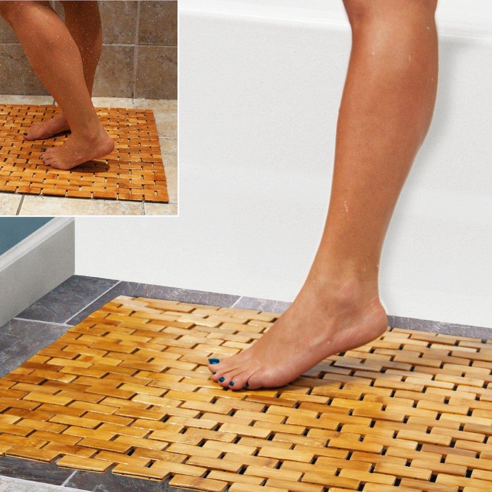 HANKEY Luxury Multipurpose Bamboo Bath Mat For Shower Spa Sauna with Non Slip Feet | Indoor Outdoor Use for Kitchen Bedroom Bathroom Toilet Doormat Pet Mat | 60 x 40 cm (23.6 x 16)