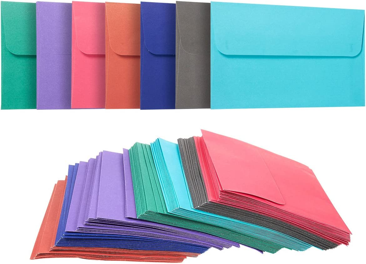 100 Pack A4 Envelopes - 4.25 X 6.25 Inches - Square Flap Photo Envelopes - Invitation Envelopes für Wedding Invitations - 100Gsm, Assorted Colors