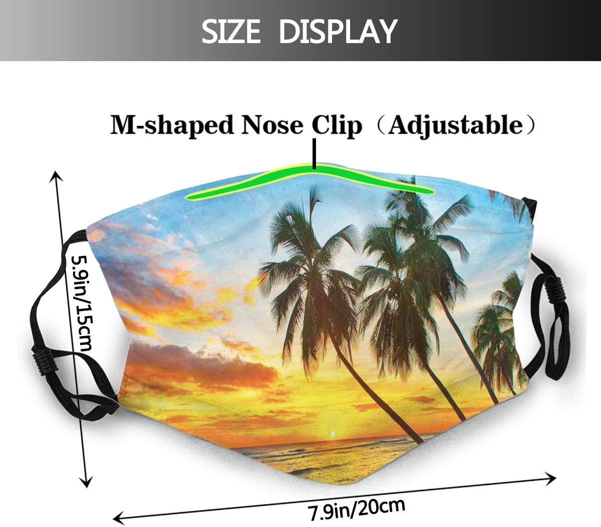 926 TROMN Dreamy Seascape Curve Jetty Romantic Resort Morning Time Panoramic View Dust Washable Reusable Filter and Reusable Mouth Warm Windproof Cotton Face