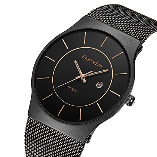 0608655a97 FunkyTop Mens Women Stainless Steel Mesh Watch Quartz Analog Fashion Casual  Waterproof Ultra Slim Watch (
