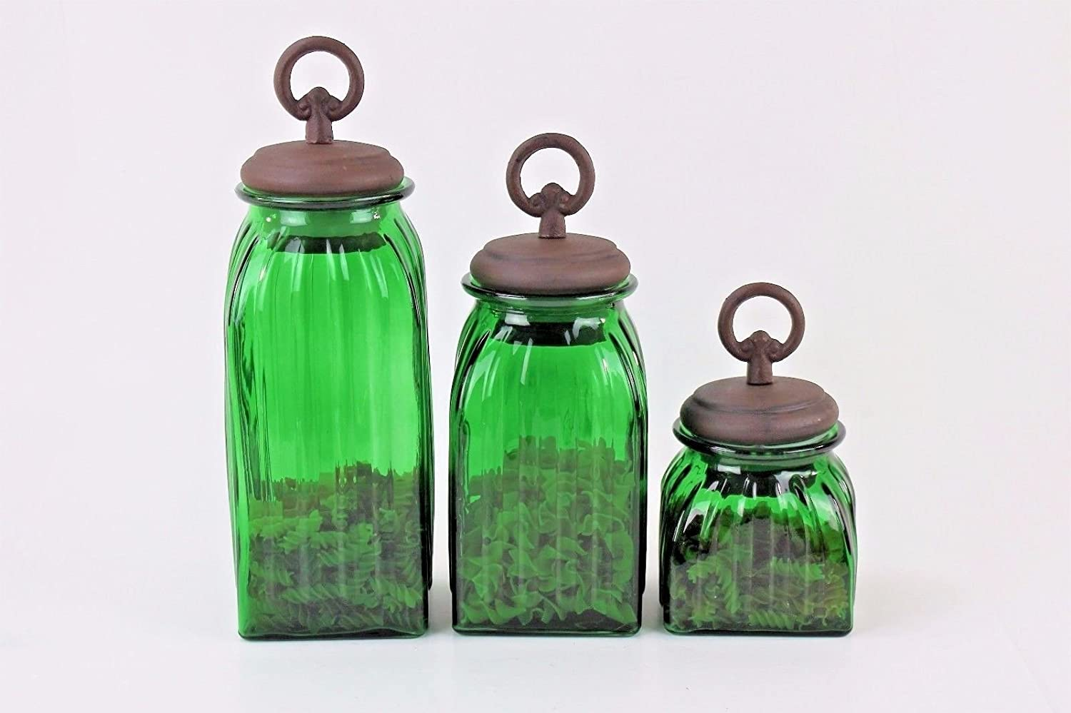 GREEN 3 PC. GLASS CANISTERS SET (RING, COPPER) FREE SALT & PEPPER