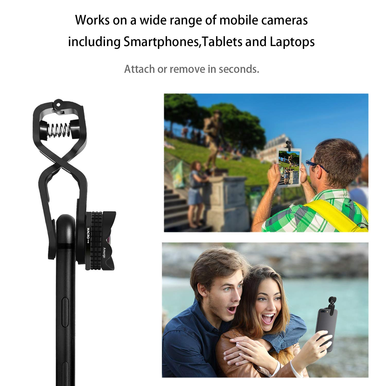 Camera Lens Kit,4K HD Super Wide Angle Lens,Macro Lens,Phone Camera Lens,Clip-On Cellphone Lens for iPhone iPad and Most Smartphones (Black)