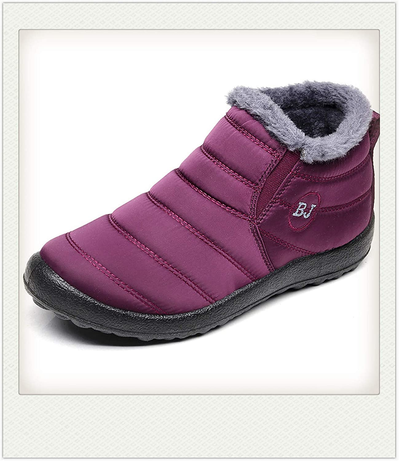 Hbvza Women Boots Keep Warm Winter Shoes Woman Waterproof Snow Boots with Fur Winter Botas Mujer Ankle Boots Female Plus Size 35-46