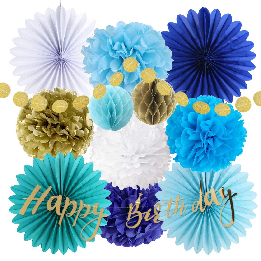 Easy Joy Blue Gold Boys Birthday Party Hanging Decoration Kit Happy Birthday Banner Paper Fans Tissue Pom Poms Flowers (Blue)