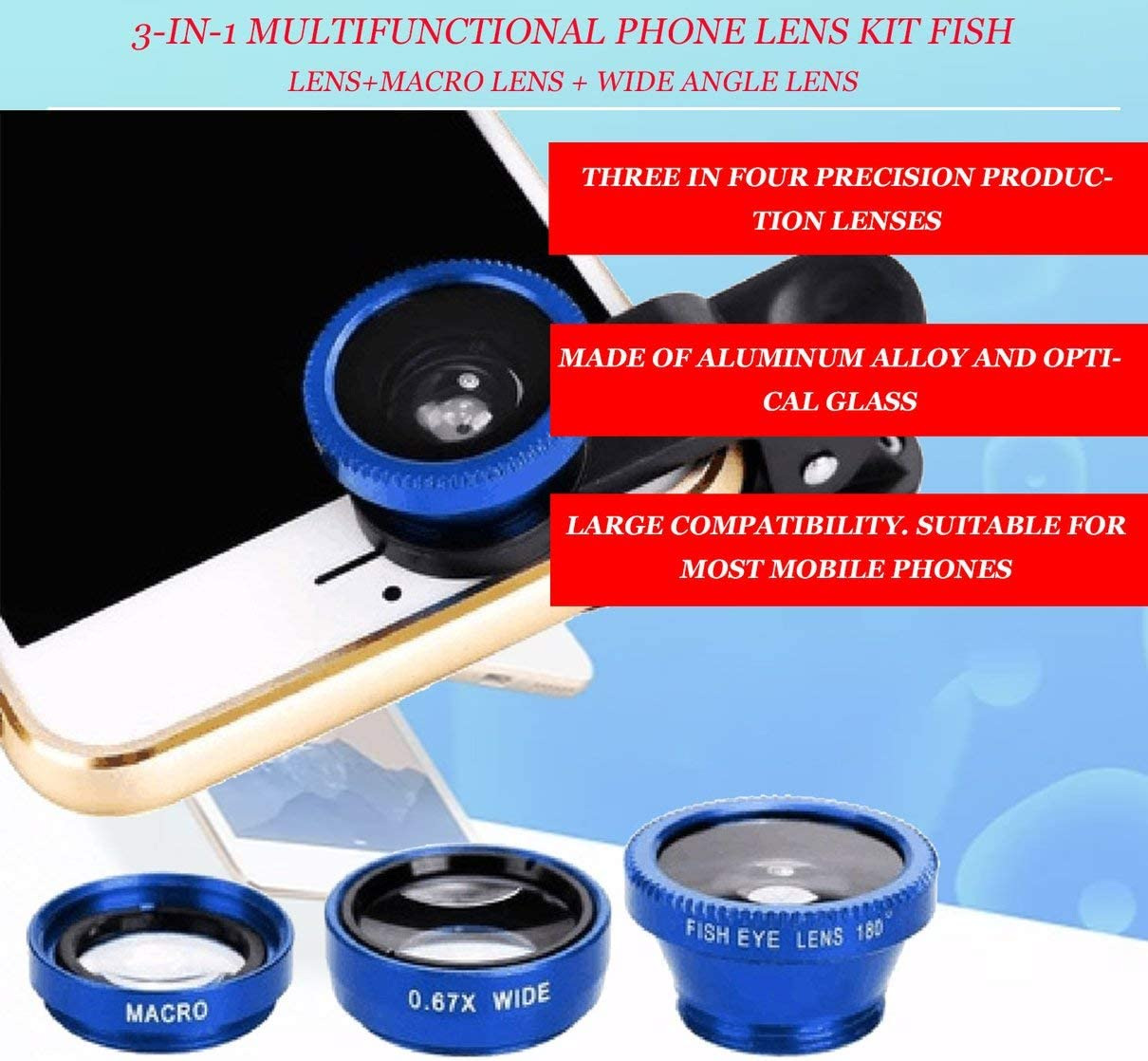 Wide Angle Lens Transform Phone Into Professional Camera 3-in-1 Multifunctional Phone Lens Kit Fish Lens+Macro Lens