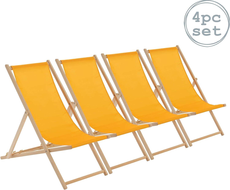 Senape Spiaggia Stile Tradizionale Sedia Pieghevole Regolabile Harbor Housewares Sedia a Sdraio in Legno