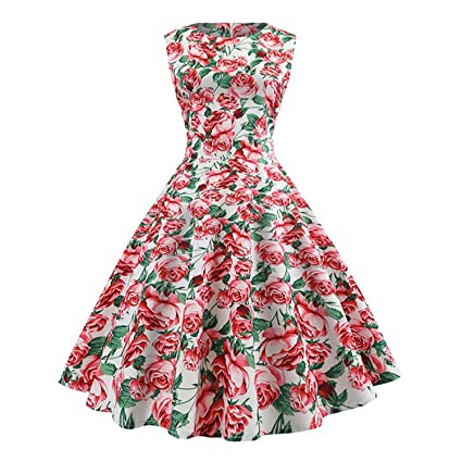 50355caf120 Image Unavailable. Image not available for. Color  Clearance Floral Print  Vintage Dress Women Summer Sleeveless Pin Up Dress Retro Rockabilly High  Waist ...