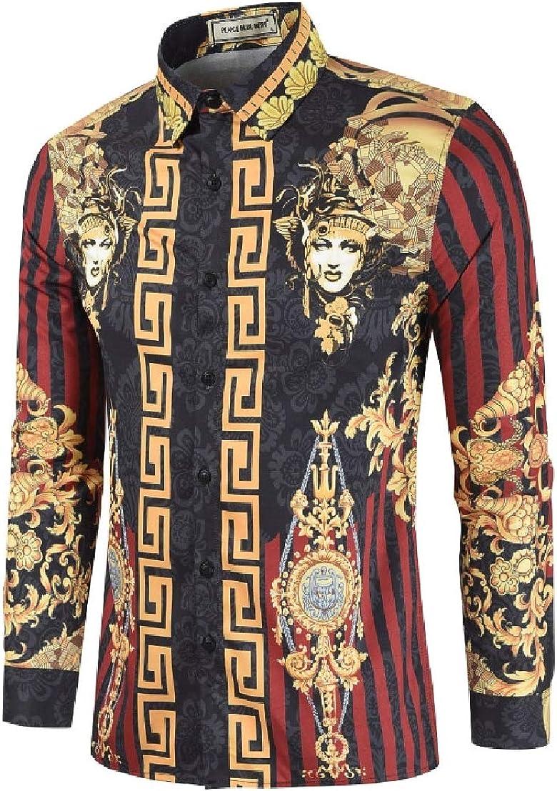 UUYUK Men Casual Long Sleeve Floral Print Slim Fit Button Down Shirt