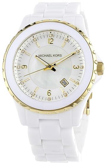 Michael Kors MK5249 - Reloj para mujeres, correa de plástico color blanco: Amazon.es: Relojes