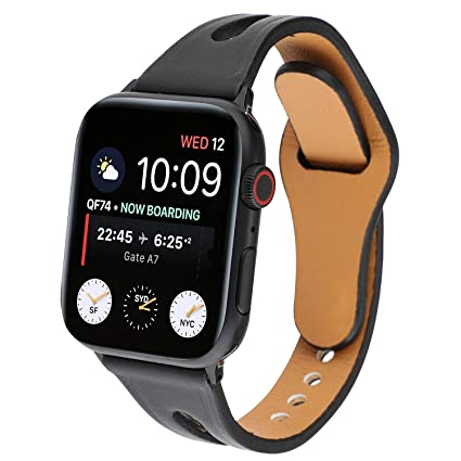 cabebaf579e86 WONMILLE Compatible Apple Watch Band 38mm 40mm Women, Slim Glitter Leather  Bands Replacement Wristband Sport Strap for iWatch Series 4 3 2 1