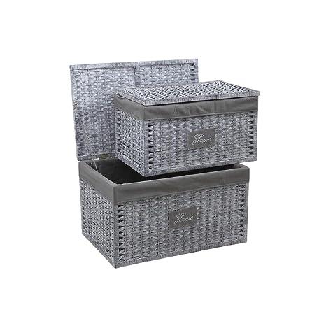 Aubry Gaspard Serie de 2 cofres Cajas de almacenaje de Mimbre y Cuerda Gris