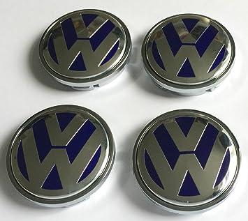 Juego de chapas de 4 Volkswagen logotipo de plata azul 56 MM, curvada, aleación rueda central tapacubos ...