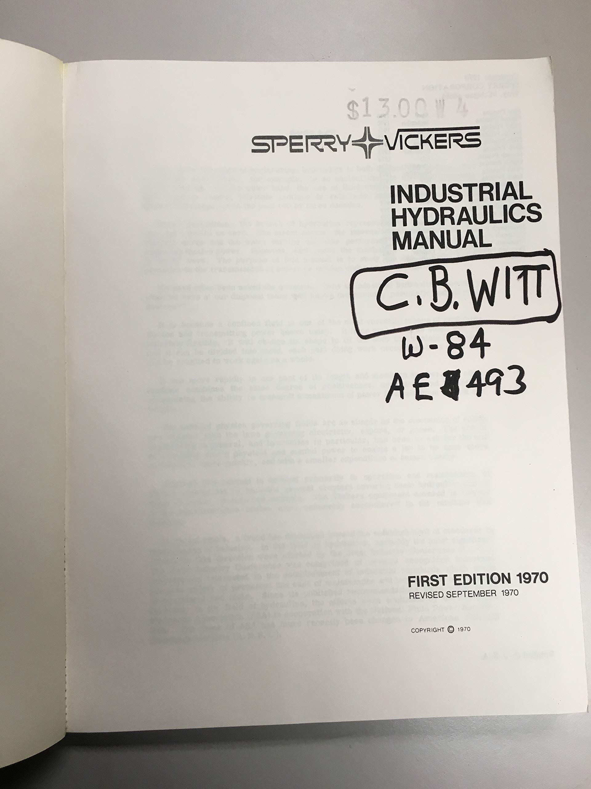 Sperry Vickers Industrial Hydraulics Manual.: Sperry Rand Corporation:  Amazon.com: Books