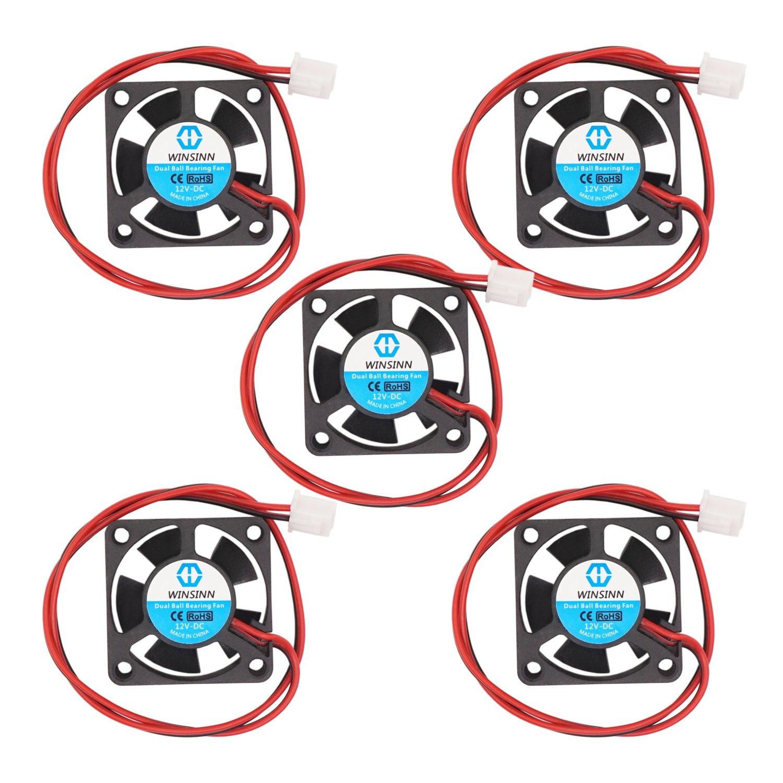 Pack of 5Pcs WINSINN 30mm Fan 5V Dual Ball Bearing DC Brushless Quiet Cooling 3010 30x10mm for 3D Printer Extruder Hotend V6 V5 CPU Arduino 2Pin 0.2A 1W 7500+-5/% RPM