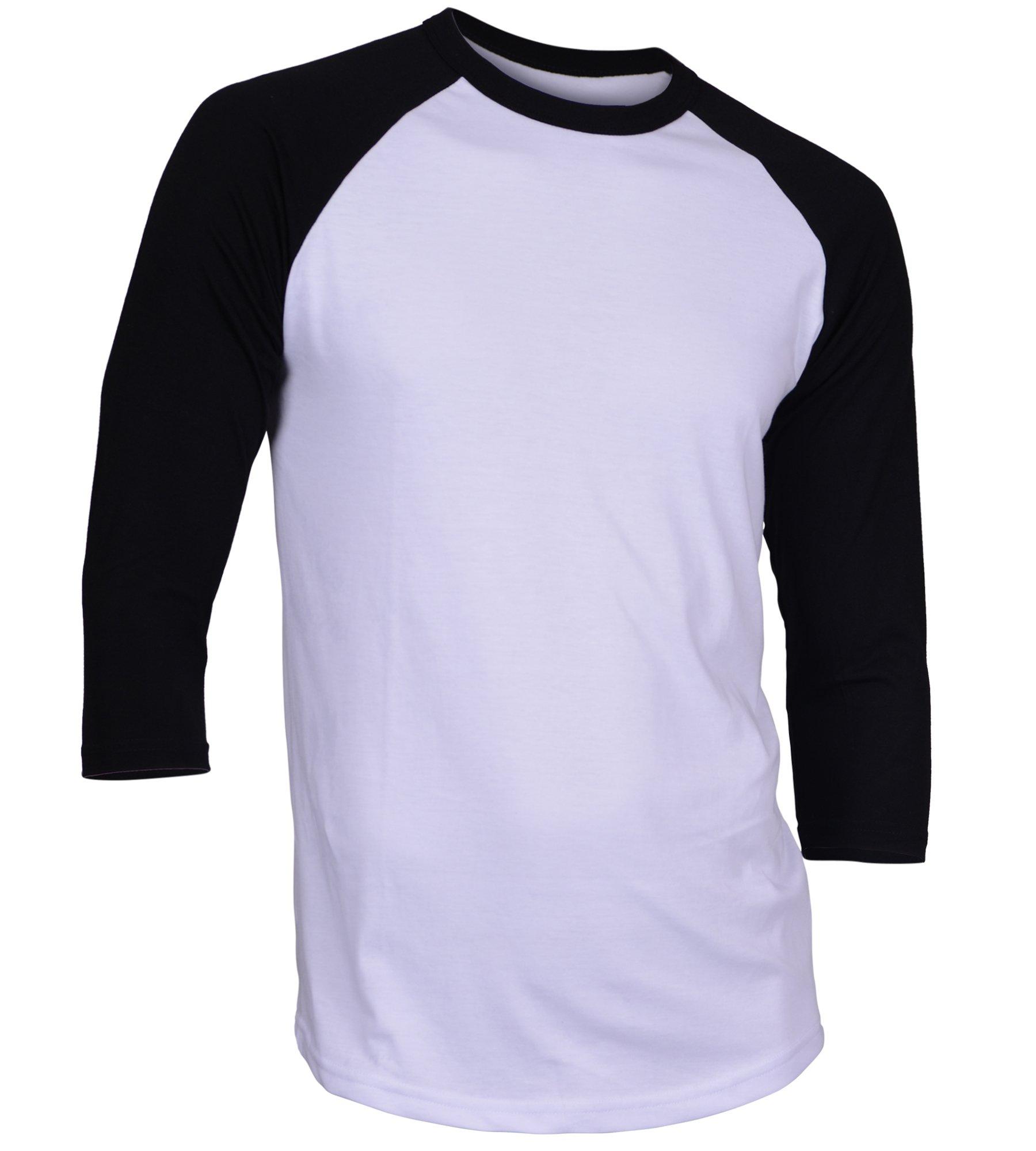 Dream USA Men's Casual 3/4 Sleeve Baseball Tshirt Raglan Jersey Shirt White/Black Medium