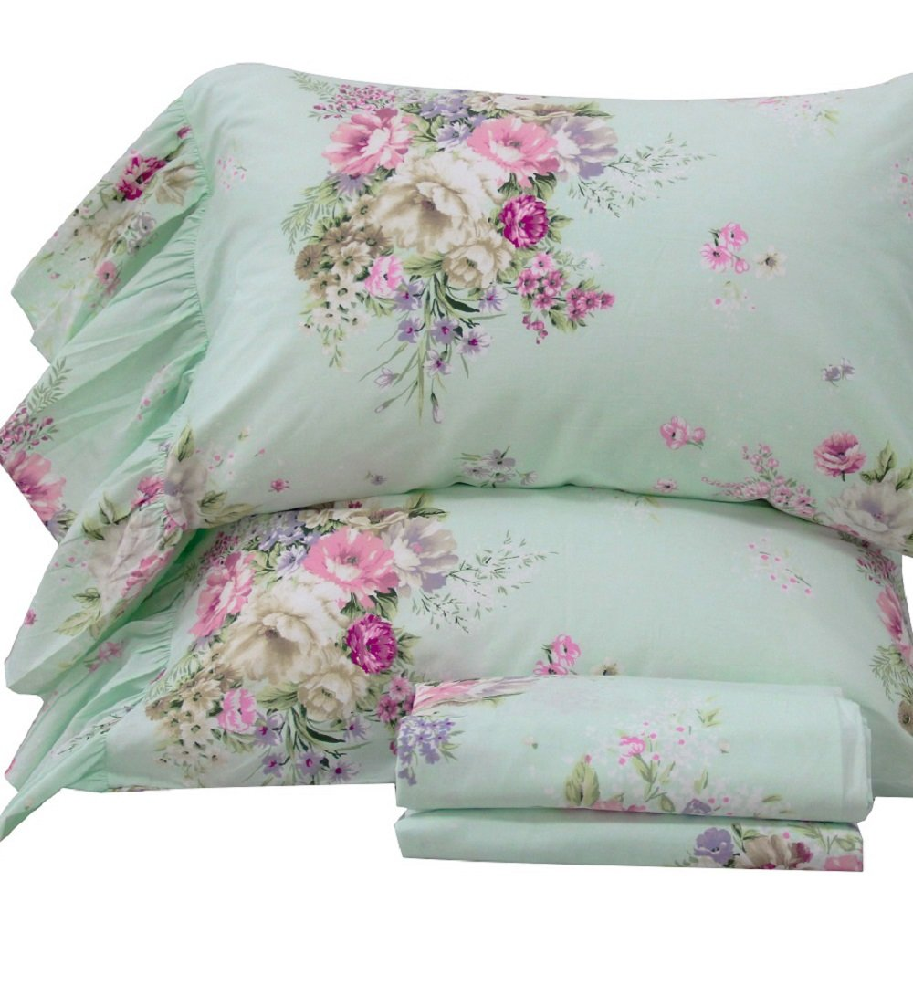 Queen's House 4-Piece Shabby Green Bed Sheet Sets Cotton Queen Size-Style K by QSH