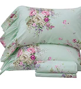 Queen's House 4-Piece Shabby Green Bed Sheet Sets Cotton Full Size-Style K