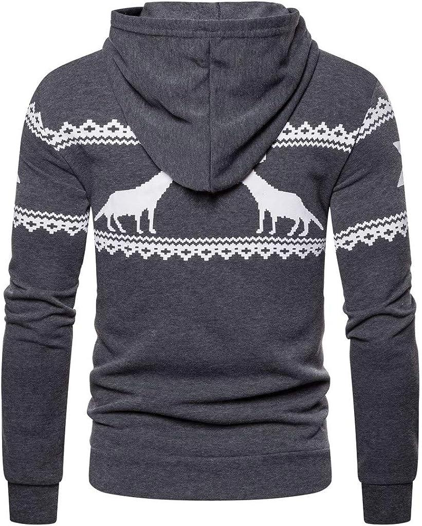 iZHH Mens Elk Hoodie Zipper Sweatshirt Outwear Jumper Sweater Top Coat Christmas