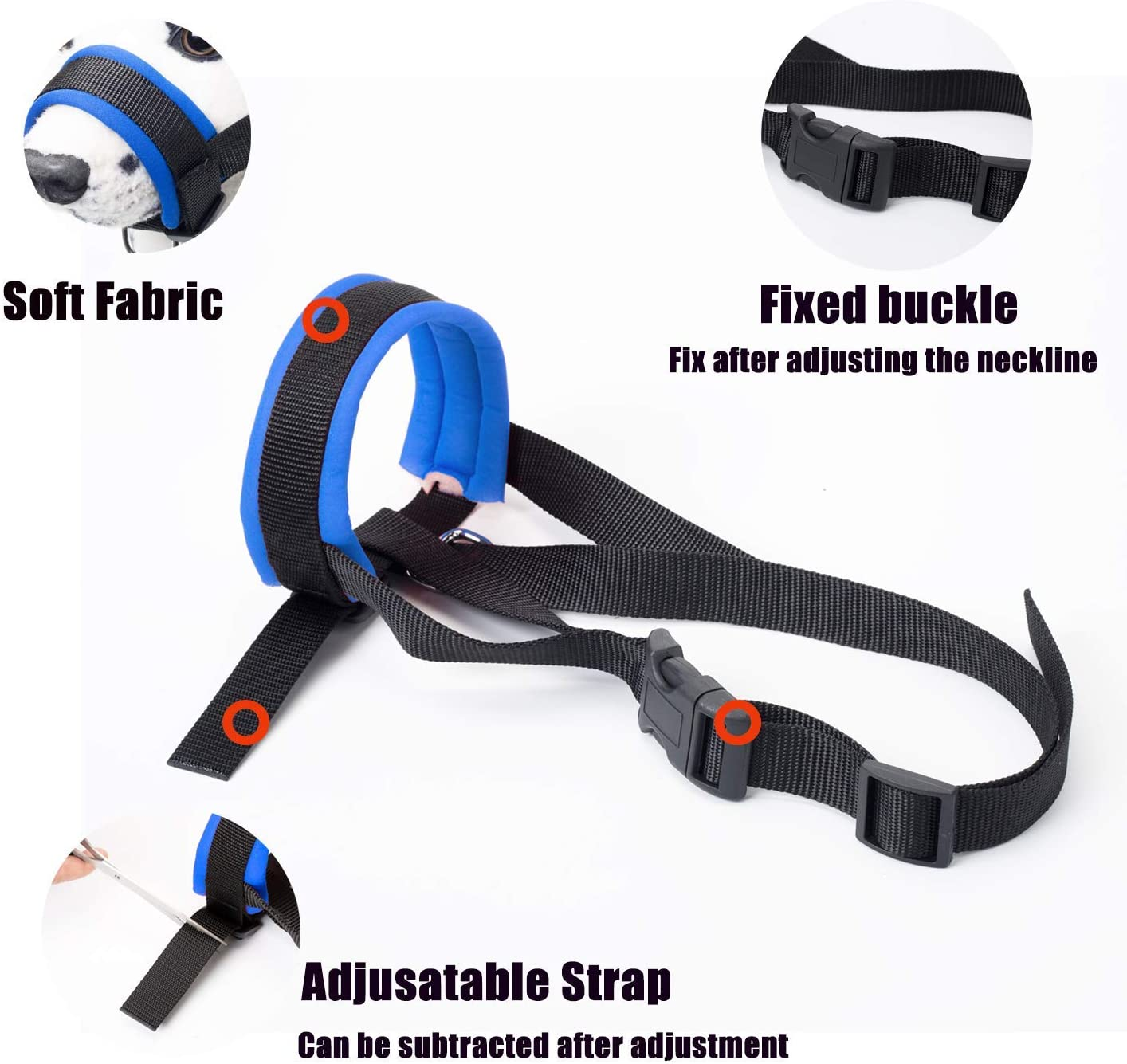 Medium and Large Dogs ILEPARK Dog Muzzle with Fabric for Small Adjustable Neck Chewing M, Blue Breathable Anti Biting