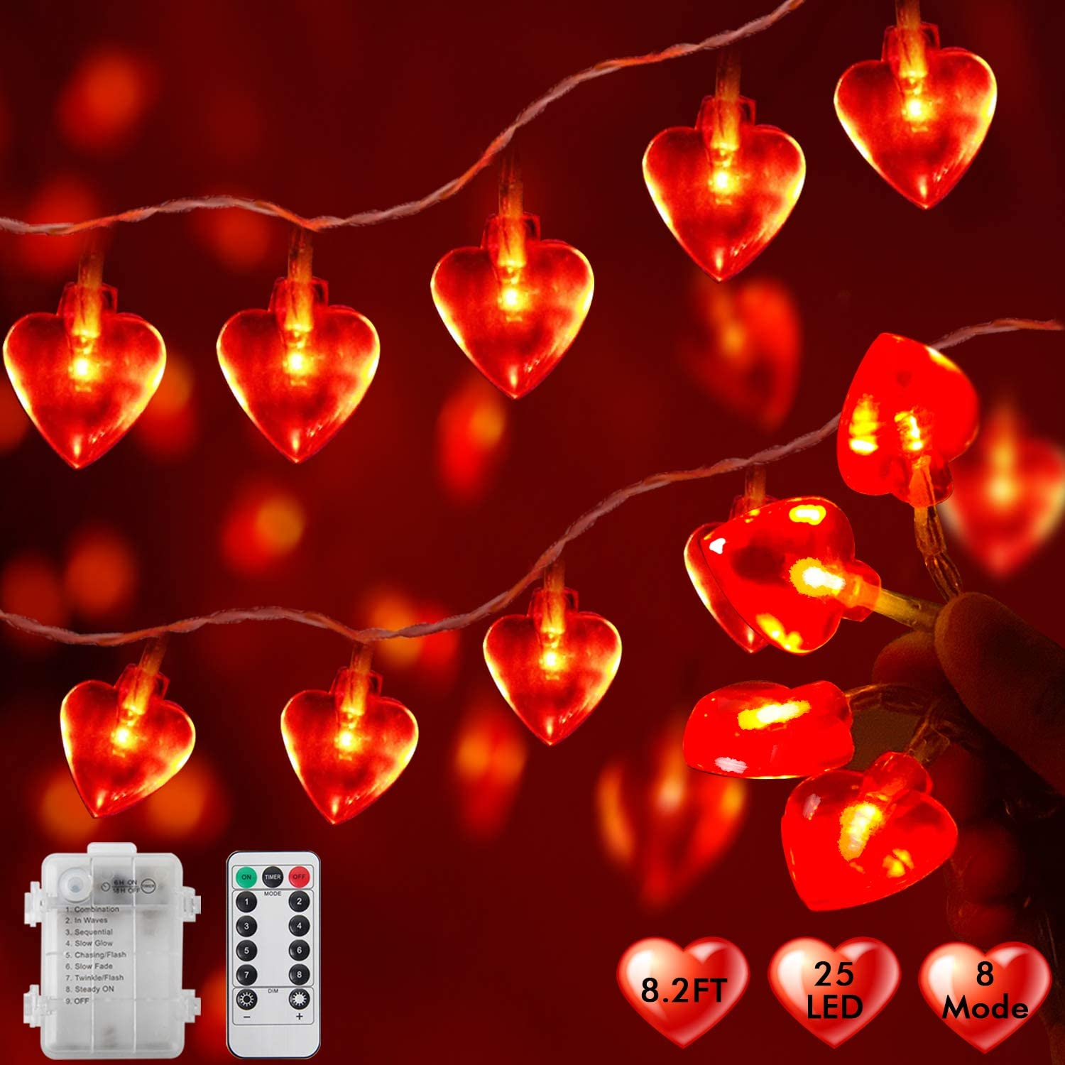 AKIT Heart Shaped Fairy Lights Battery Operated, 9FT 25 LED Lights for Bedroom Room Decor, Indoor Outdoor String Lights with Remote & Timer, Valentines Day Gifts for Him Her Wedding