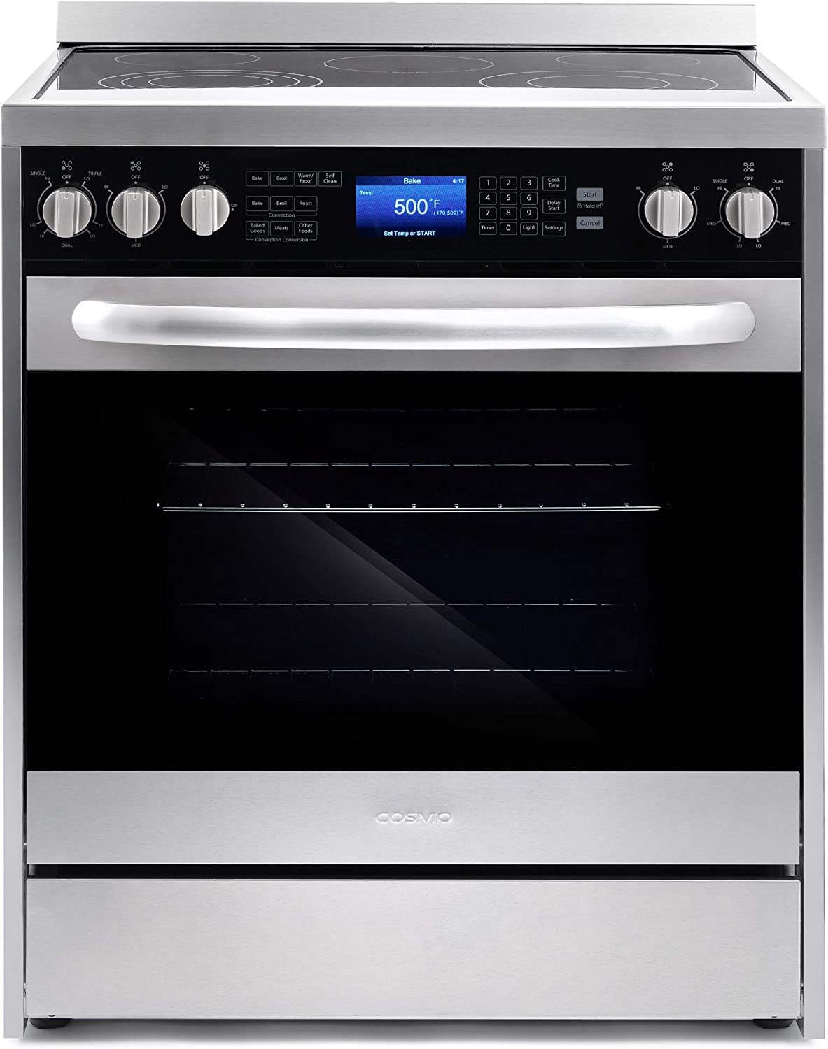 Cosmo COS-305AERC Commercial-Style Electric Range with 4 Burners / 1 Warming Zone and 5 cu. ft. Capacity Oven with 7 Functions, Turbo True European Convection, 30 inch, Stainless Steel
