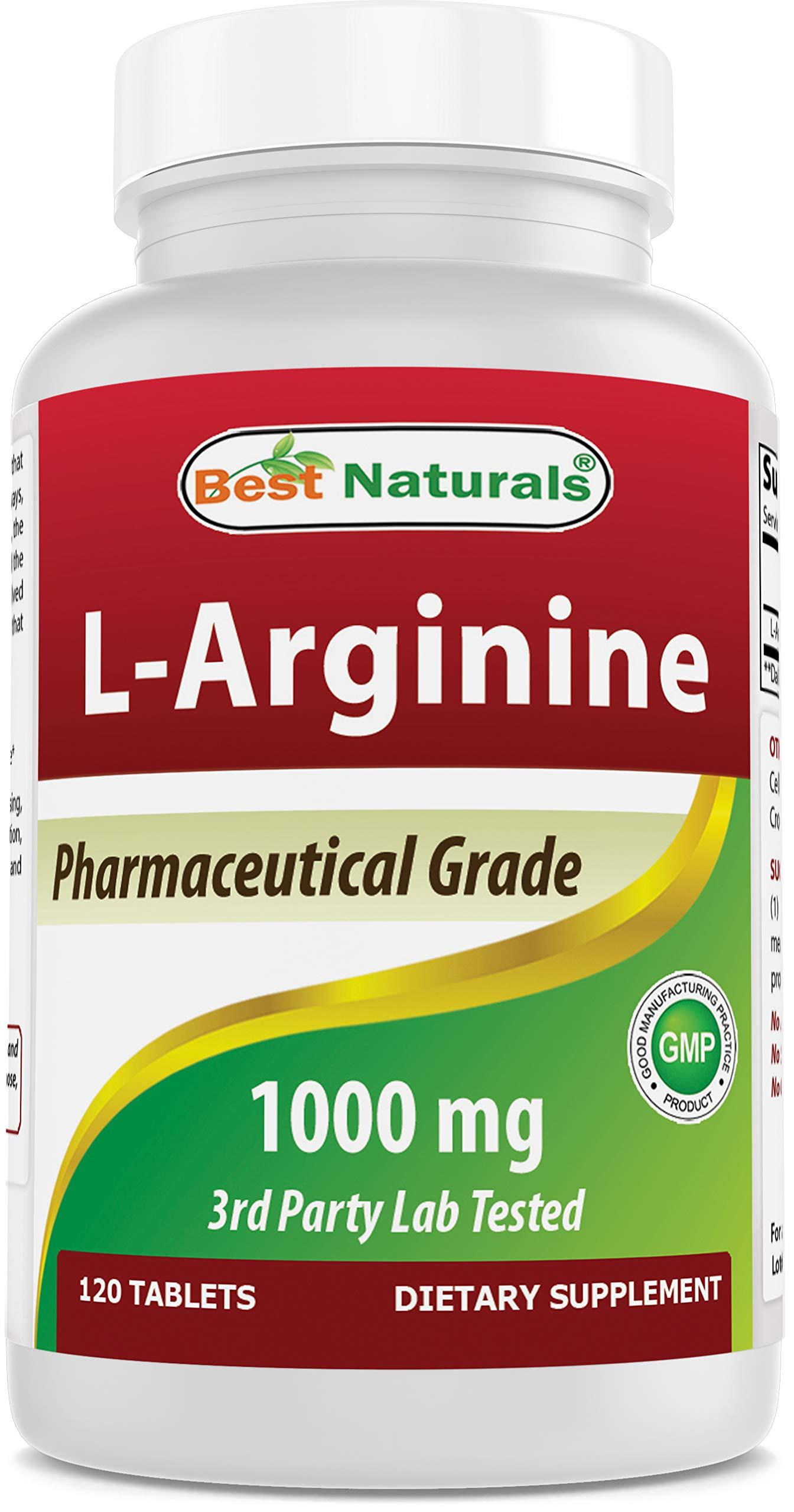 (New Improved Formula) Best Naturals L-Arginine 1000 mg 120 Tablets - Pharmaceutical Grade L Arginine Supplement Promotes Nitric Oxide Synthesis