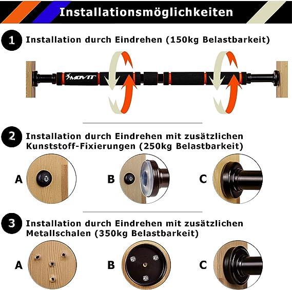 Movit telescópico barra Dominada MV de 40 – 290, MV de 40 – 398, MV de 40 – 399 con Soft Grip y gomas laterales transparentes, soporta hasta 350 kg, ...