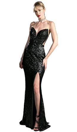 2b0b5a3eb3d Cinderella Divine CR803 Strapless Illusion Sequined Evening Gown in Black