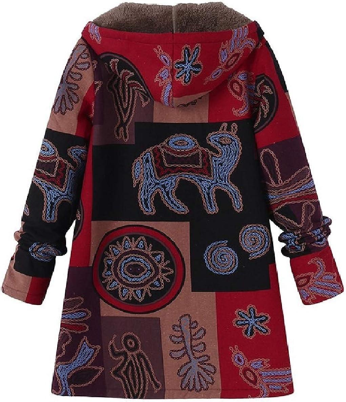 WillingStart Womens Hooded Cardi Linen Navajo Floral Plus Velvet Retro Anorak Jacket