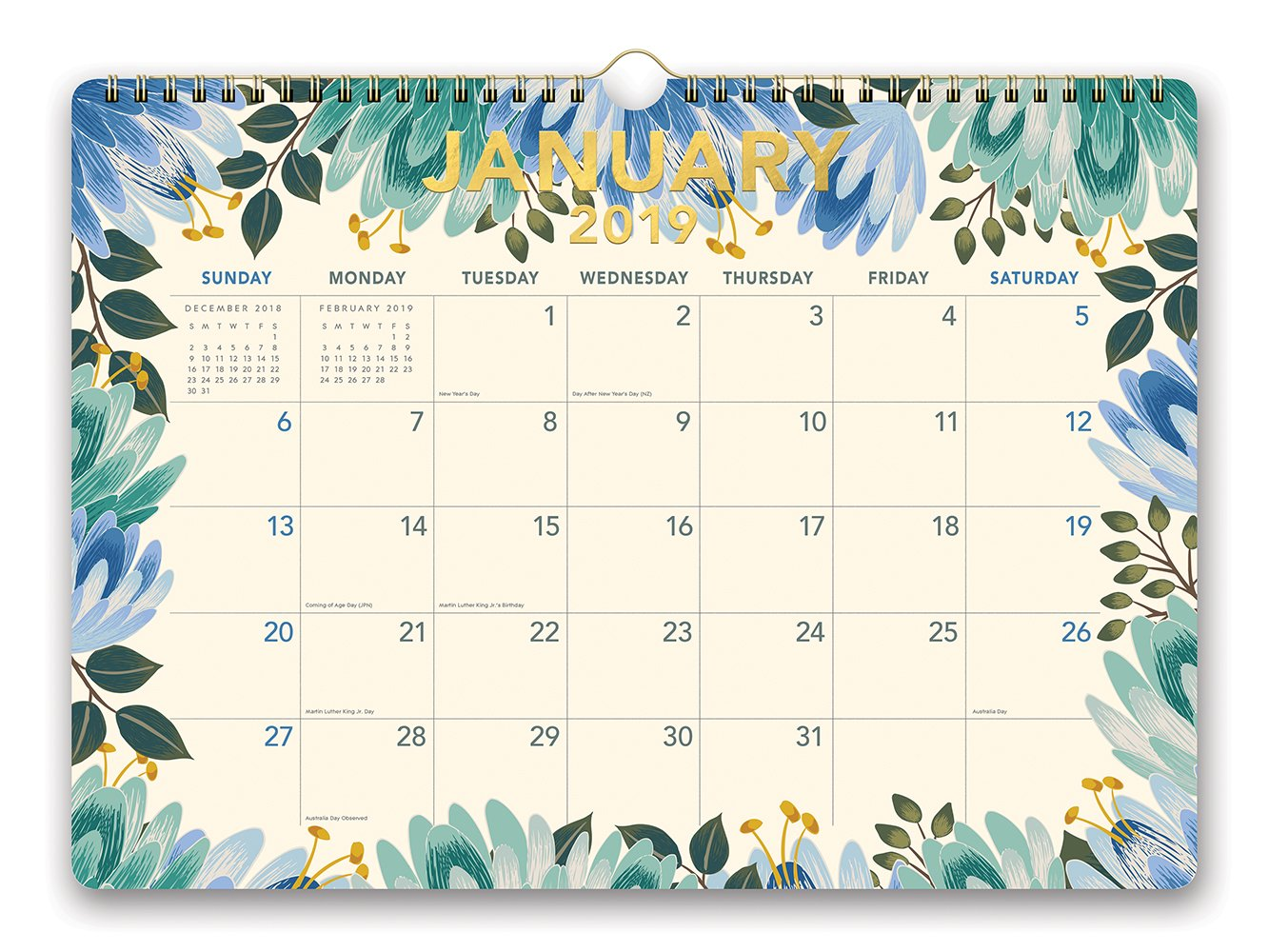 Orange Circle Studio 2019 Deluxe Wall Calendar, August 2018 - December 2019, Flower Power