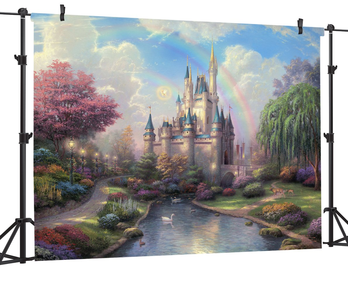 Ouyida Fairy tale castle 7' x 5' CP Pictorial cloth photography Background Computer-Printed Vinyl Backdrop TP50