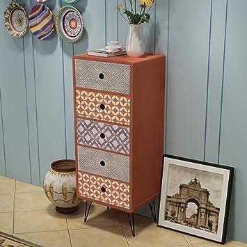 Festnight Mesilla de Noche con 5 Cajones Mueble Auxiliar para Salón Dormitorio Color Marrón 36 x 30 x 94 cm