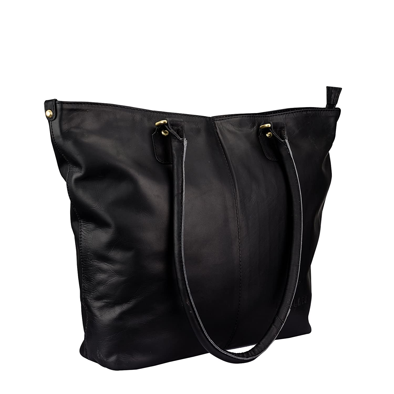 Finelaer Women Multifunction Black Leather Tote Handbag