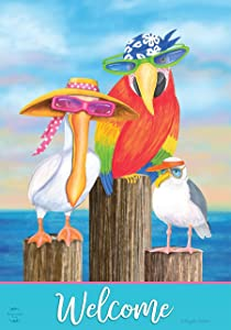 "Briarwood Lane Coastal Bird Welcome Summer Garden Flag Nautical Pelican Seagull 12.5"" x 18"""
