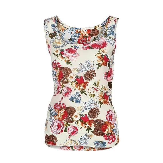 Mujeres Tops Rovinci Verano O Cuello Flor Impreso Sin Mangas Chaleco Gasa Tops Camiseta Blusa Mujer