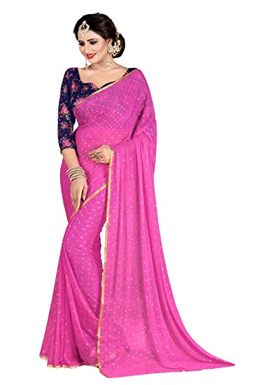 Stylehut Women's Nazneen Light Pink Colour Plain Sari
