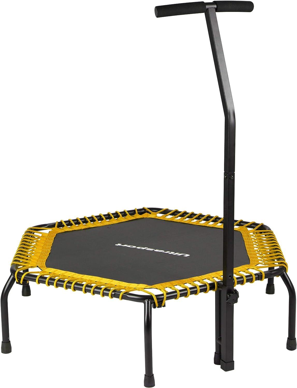Ultrasport Cama elástica fitness, manillar estable y suspensión con cuerdas de goma para la máxima seguridad, aparato de interior disponible en 2 variantes: duro o blando